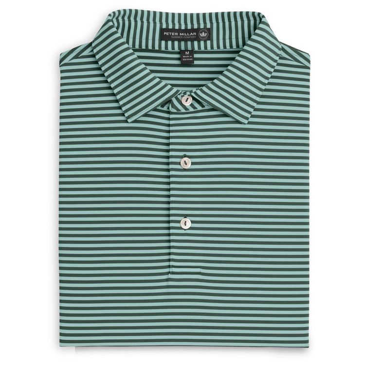 Competition Stripe Stretch Jersey 'Crown Sport' Performance Polo with Sean Self Collar in Pine by Peter Millar