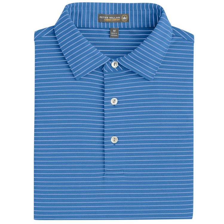 Commander Stripe Stretch Jersey 'Crown Sport' Performance Polo with Sean Self Collar in Parisian Blue (Size Medium) by Peter Millar