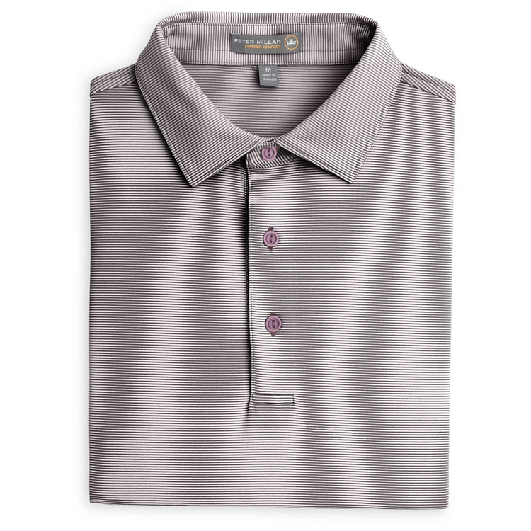 Jubilee Stripe Stretch Jersey 'Crown Sport' Performance Polo with Sean Self Collar in French Wine by Peter Millar
