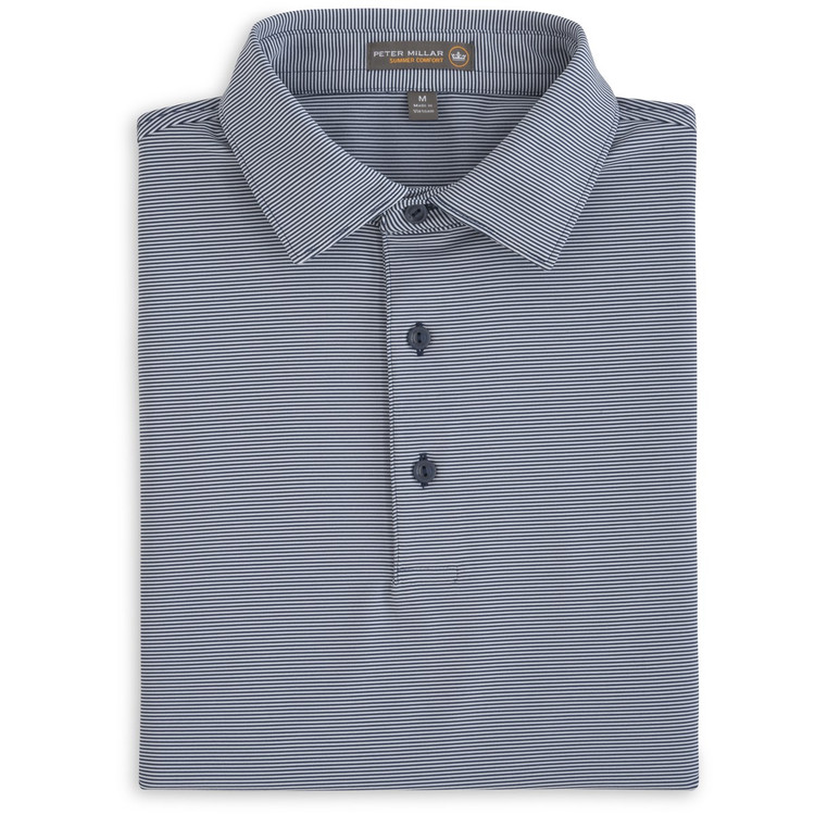 Jubilee Stripe Stretch Jersey 'Crown Sport' Performance Polo with Sean Self Collar in Midnight by Peter Millar