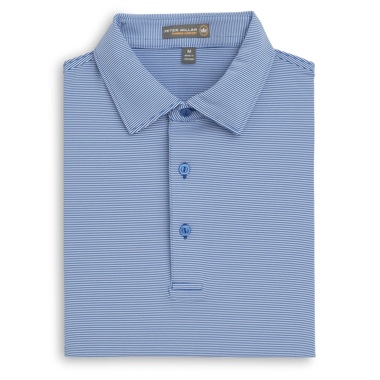 Jubilee Stripe Stretch Jersey 'Crown Sport' Performance Polo with Sean Self Collar in Parisian Blue by Peter Millar