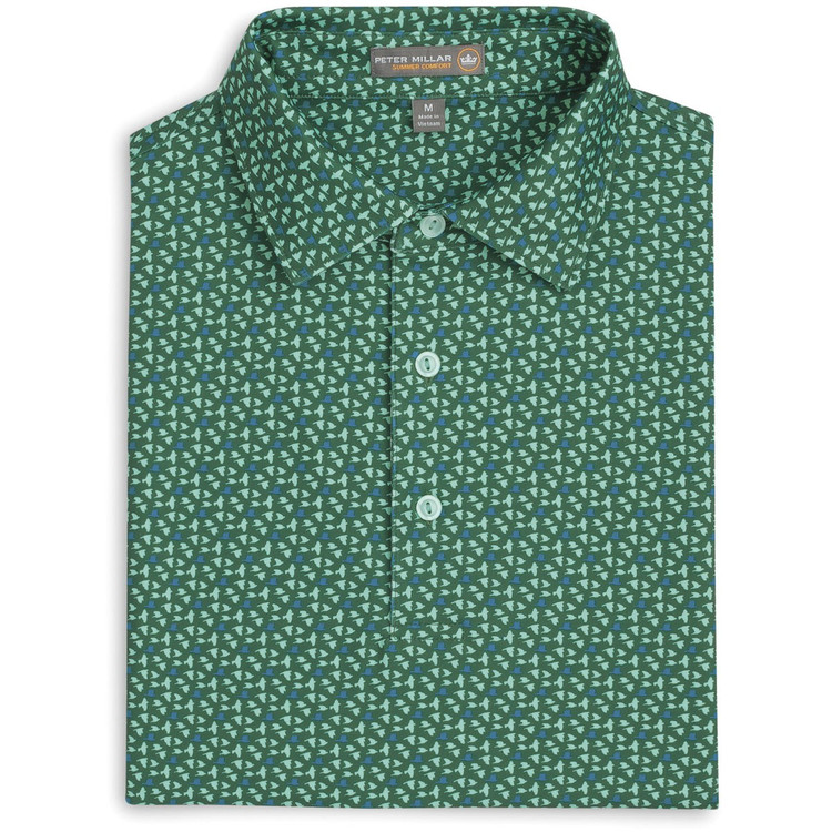 Darwin Birds Print Stretch Jersey 'Crown Sport' Performance Polo with Sean Self Collar in Pine by Peter Millar