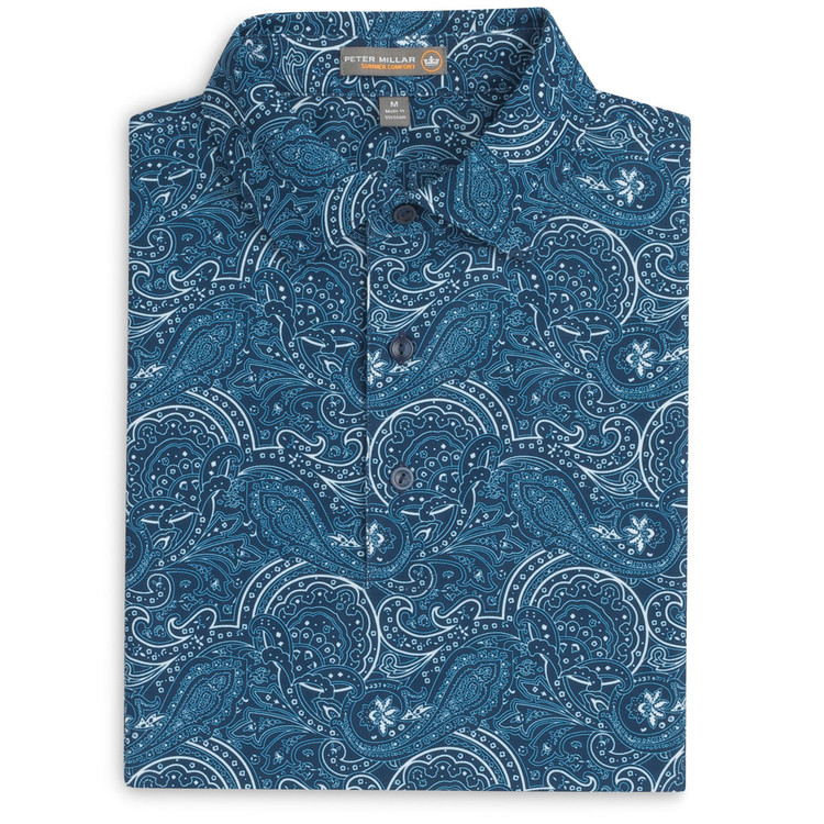 Pumyra Paisley Print Stretch Mesh 'Crown Sport' Performance Polo with Sean Self Collar in Midnight by Peter Millar