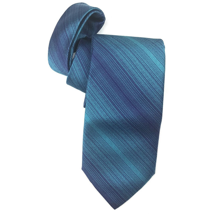 Fall 2017 Best of Class Aqua and Navy Stripe 'Venture' Woven Silk Tie by Robert Talbott