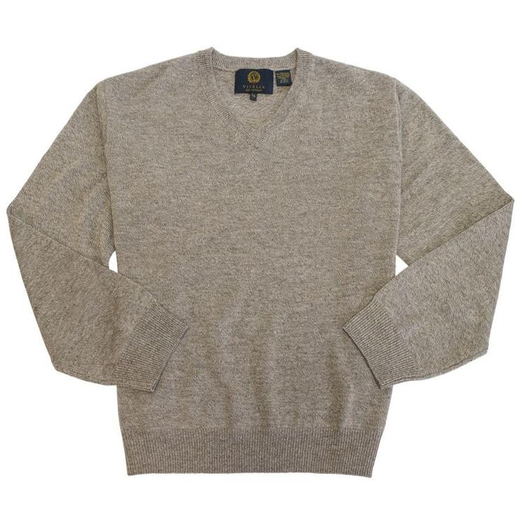 Merino Wool V-Neck Sweater in Camel by Viyella