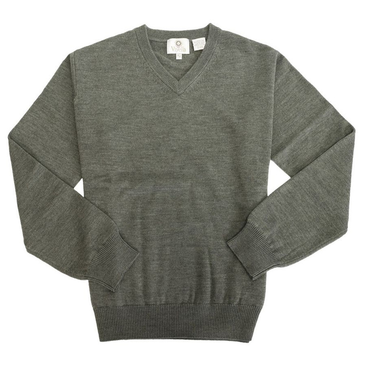 Merino Wool V-Neck Sweater in Sage Melange by Viyella