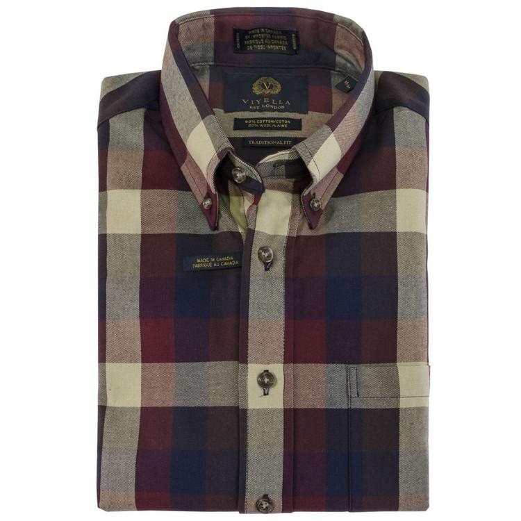 Burgundy, Navy, and Cream Plaid Button-Down Shirt by Viyella