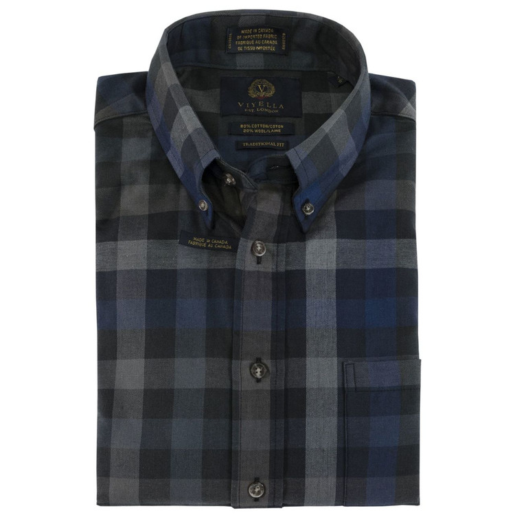 Grey, Navy, and Black Plaid Plaid Button-Down Shirt by Viyella