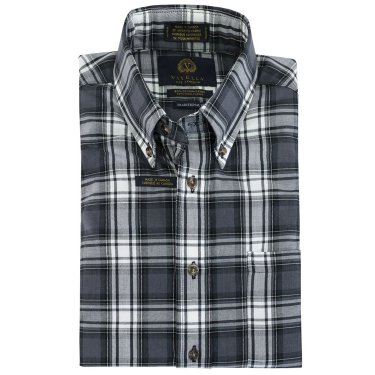 Grey and White Plaid Plaid Button-Down Shirt by Viyella