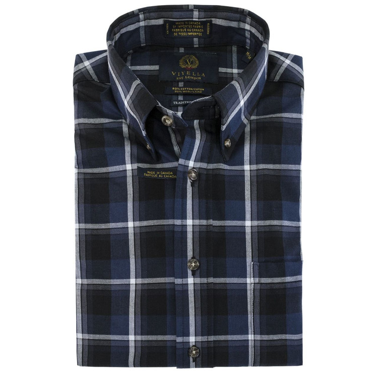 Blue, Black, and White Plaid Plaid Button-Down Shirt by Viyella