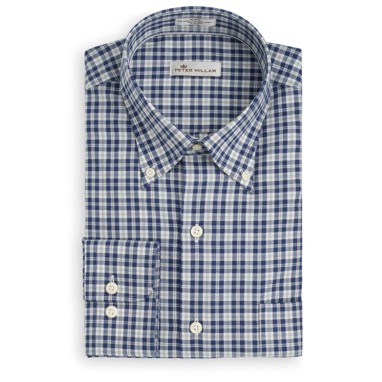 Worthington Tartan Cotton and Cashmere Sport Shirt in Arctic Night by Peter Millar