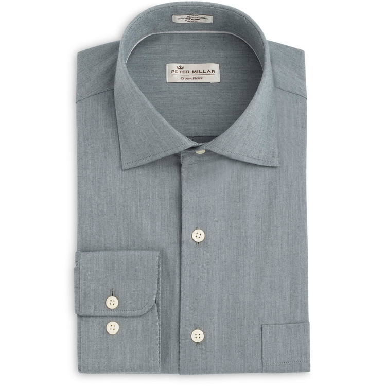 Crown Fleece Cotton and Cashmere Flannel Sport Shirt in Battleship Grey by Peter Millar