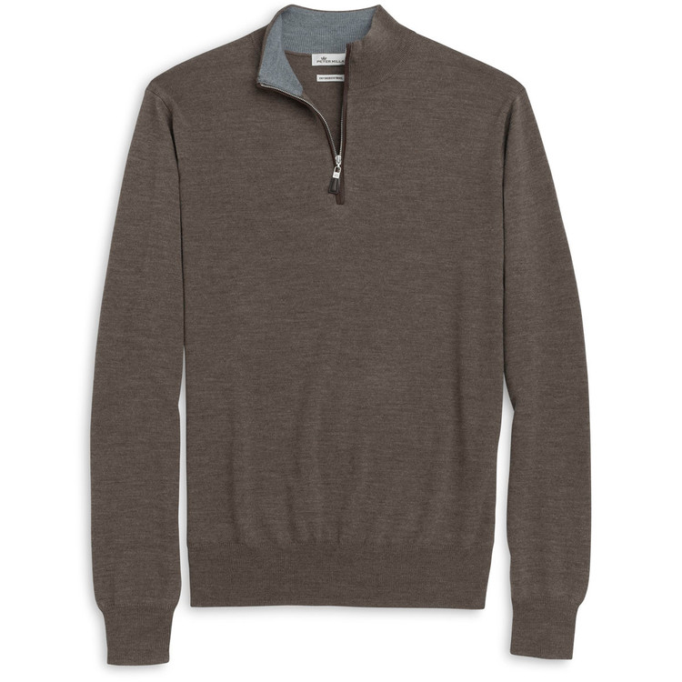 Napa Trimmed Merino and Silk Quarter-Zip Sweater in Mushroom Forest by Peter Millar