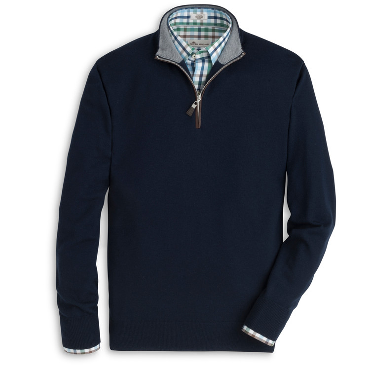 Napa Trimmed Merino and Silk Quarter-Zip Sweater in Navy by Peter Millar