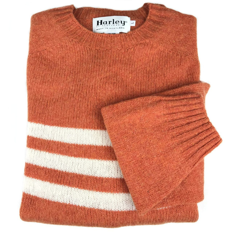 Shetland Saddle Shoulder Crew Neck Sweater with Stripe in Jaffa and White by Harley of Scotland
