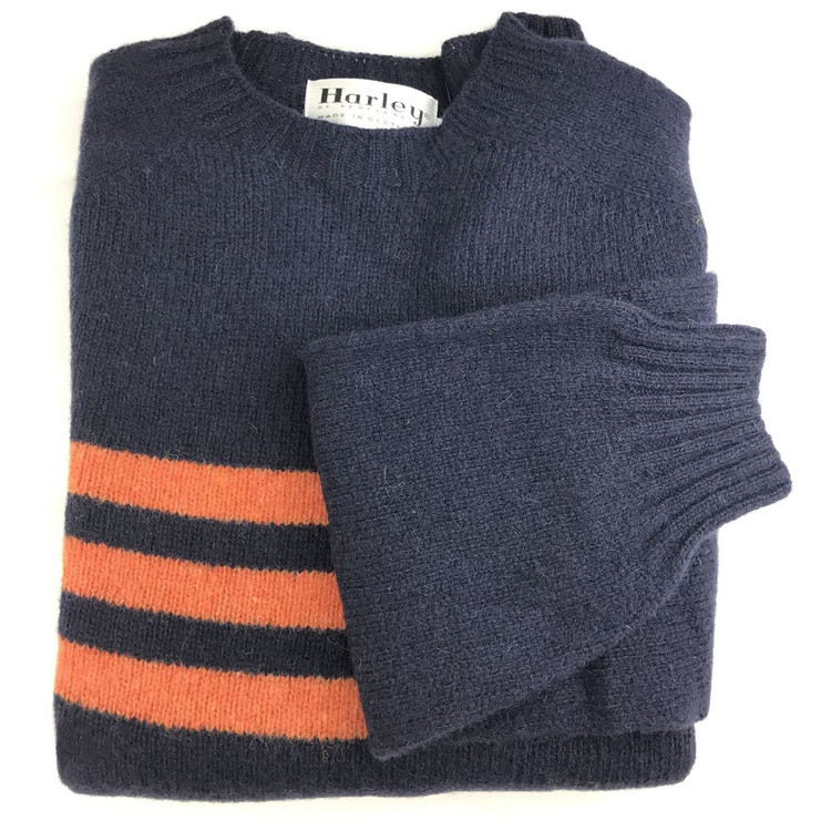 Shetland Saddle Shoulder Crew Neck Sweater with Stripe in Navy and Jaffa by Harley of Scotland