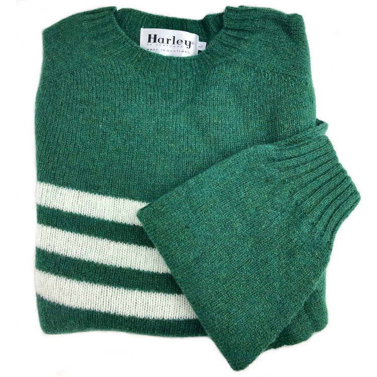 Shetland Saddle Shoulder Crew Neck Sweater with Stripe in Vintage Green and White by Harley of Scotland