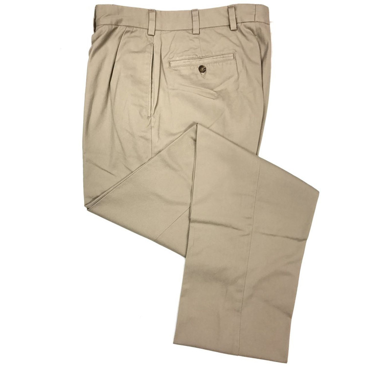 Vintage Twill Pant - Model F1P Relaxed Fit Forward Pleat in Khaki (Size 38, Short Inseams) by Hansen's Khakis