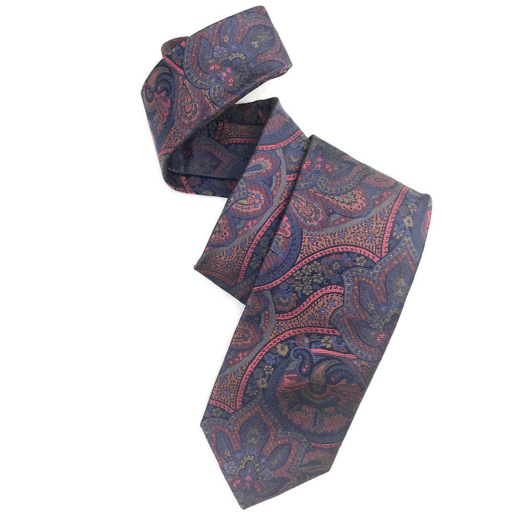 Fall 2017 Best of Class Blue and Salmon Paisley 'Heritage' Woven Silk Tie by Robert Talbott