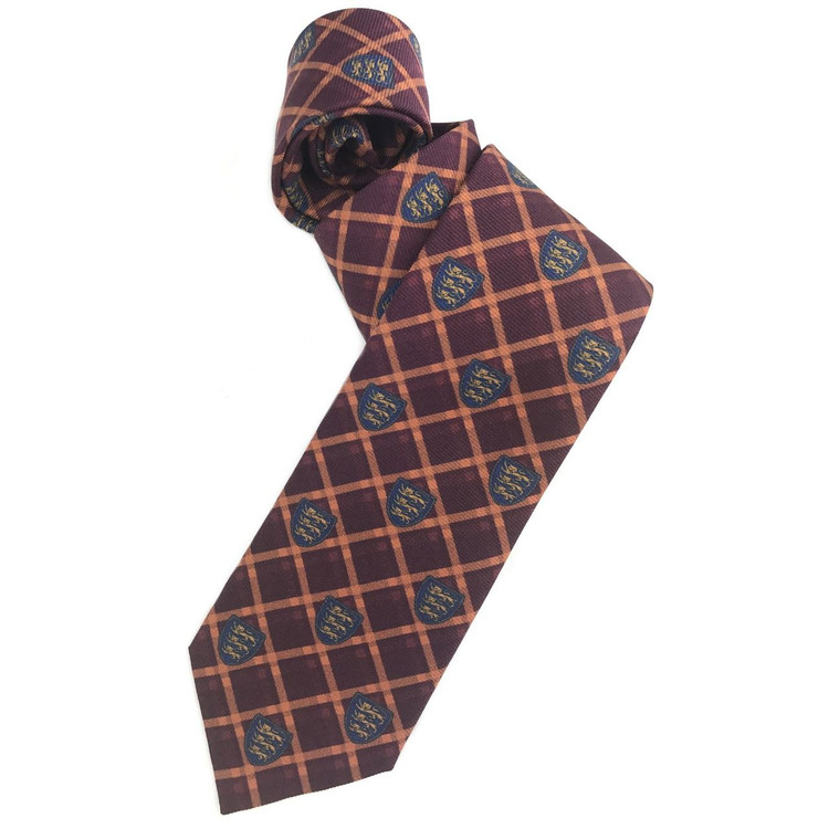 Maroon, Orange, and Blue Plaid Club Printed Silk Tie by Robert Jensen