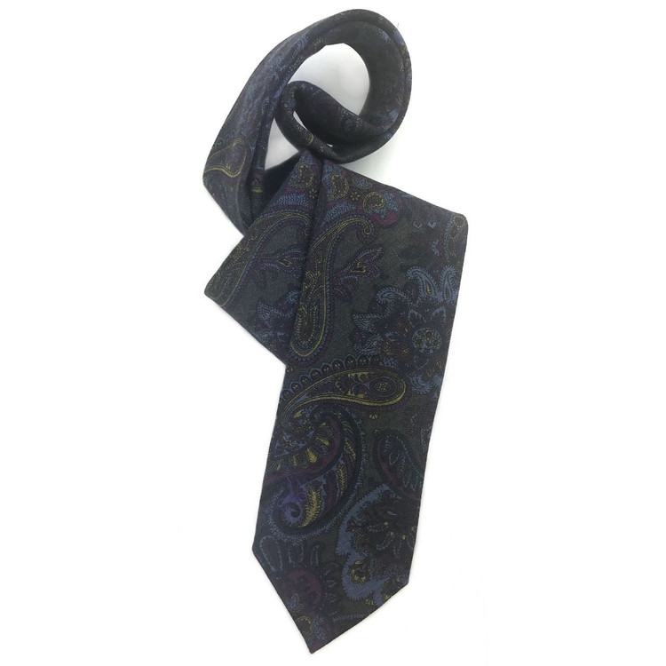 Fall 2017 Best of Class Grey and Blue Paisley 'Carmel Print' Wool Tie by Robert Talbott