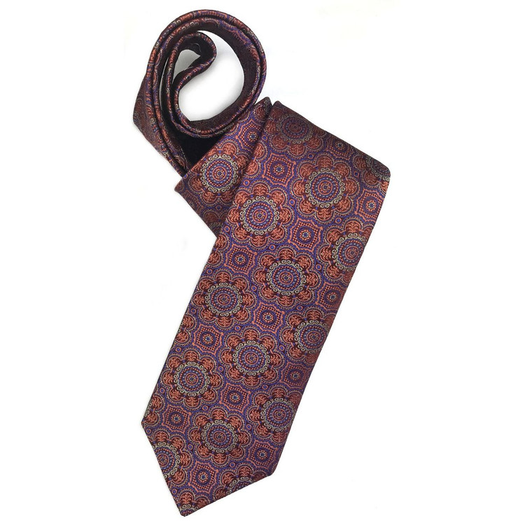 Salmon, Blue, and Burgundy Geometric Woven Silk Tie by Robert Jensen