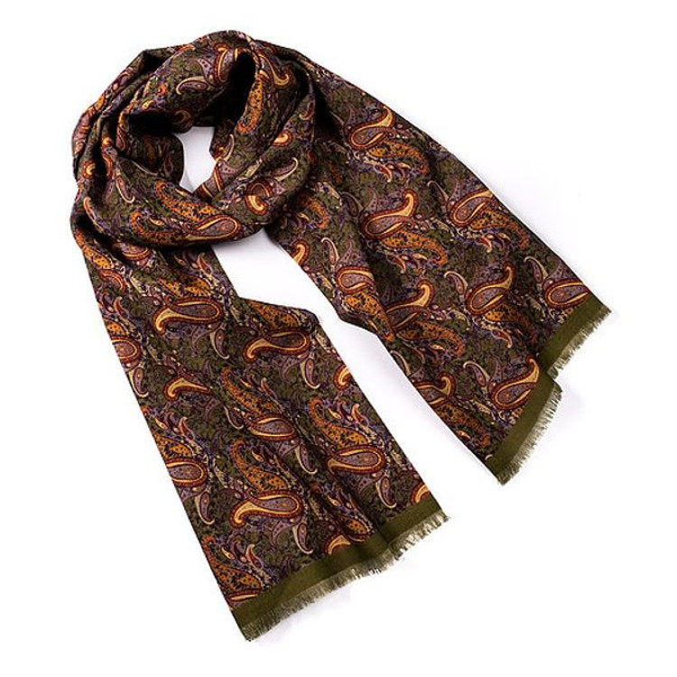 Victoria Paisley Wool and Silk Scarf in Bronze Green by Trumbull Rhodes
