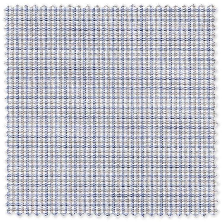 Blue and Tan Check 100% Cotton Twill Custom Dress Shirt by Skip Gambert