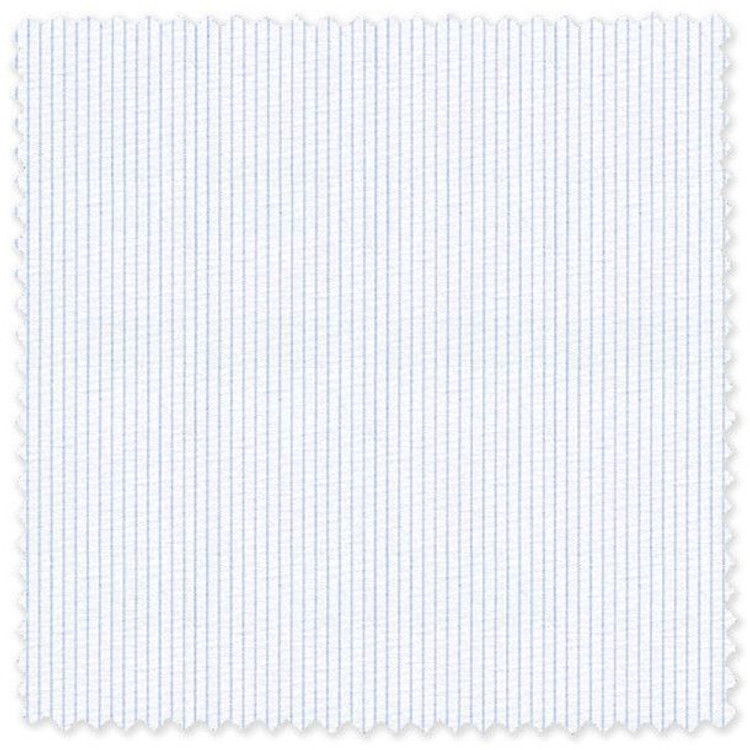 Light Blue on White Stripe 'Classic 120's' Cotton Broadcloth Custom Dress Shirt by Skip Gambert