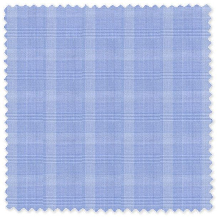 Blue Glen Plaid 100% Cotton Broadcloth Custom Dress Shirt by Skip Gambert