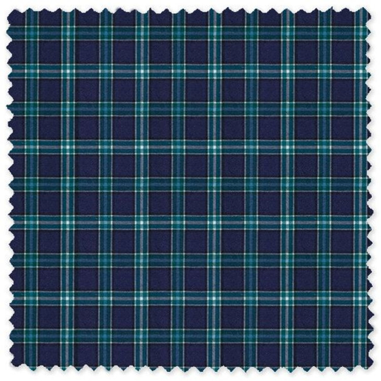 Navy and Green Plaid 100% Cotton Broadcloth Custom Dress Shirt by Skip Gambert