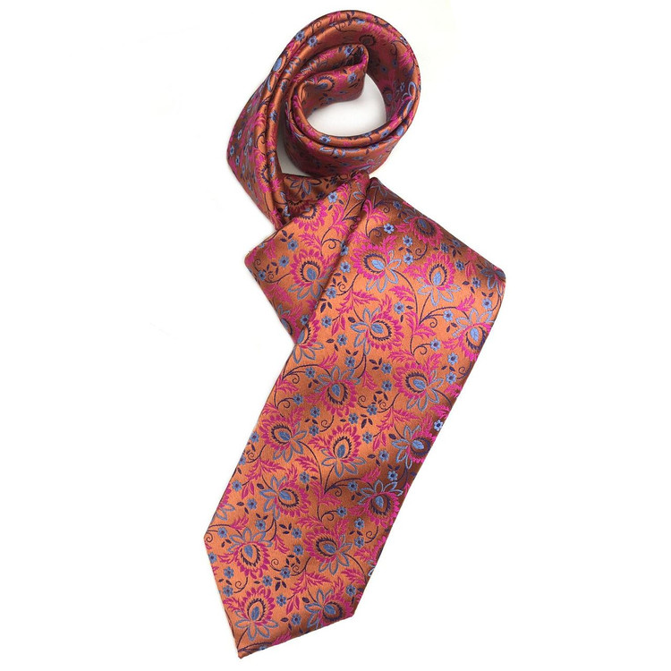 Fall 2017 Best of Class Orange, Fuchsia, and Blue Floral 'Welch Margetson' Woven Silk Tie by Robert Talbott