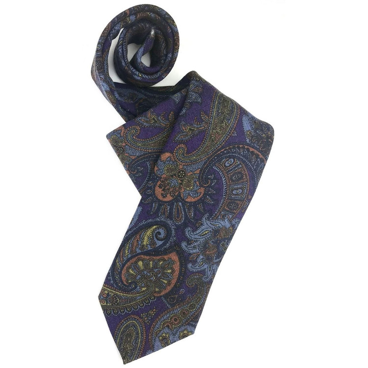 Fall 2017 Best of Class Purple and Blue Paisley 'Carmel Print' Wool Tie by Robert Talbott