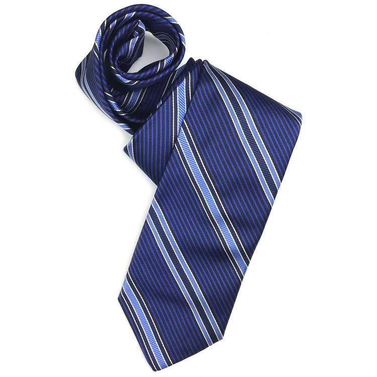 Fall 2017 Best of Class Blue and Black Stripe 'Academy' Woven Silk Tie by Robert Talbott