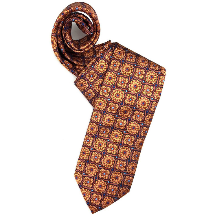 Fall 2017 Best of Class Orange and Navy Geometric Floral 'Heritage' Woven Silk Tie by Robert Talbott