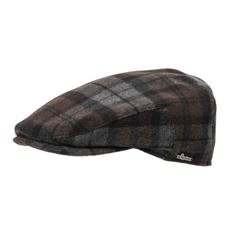 Ivy Slim Canada Check Wool and Cashmere Cap in Dark Brown by Wigens