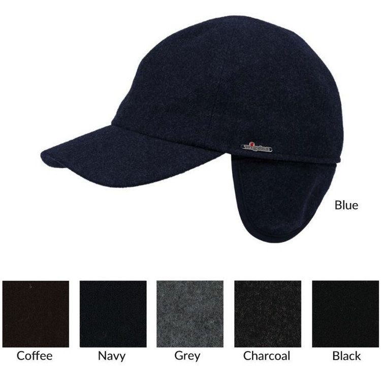 Classic Baseball Melton Cap with Earflaps in Choice of Colors by Wigens