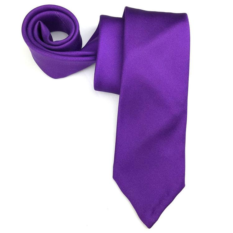 Fall 2017 Purple Solid Faille '50oz. Print' Seven Fold Woven Silk Tie by Robert Talbott