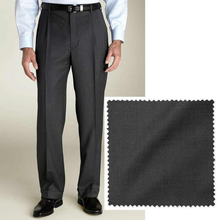 'Bennett' Double Reverse Pleat Wool Pant in Charcoal Pindot by Zanella