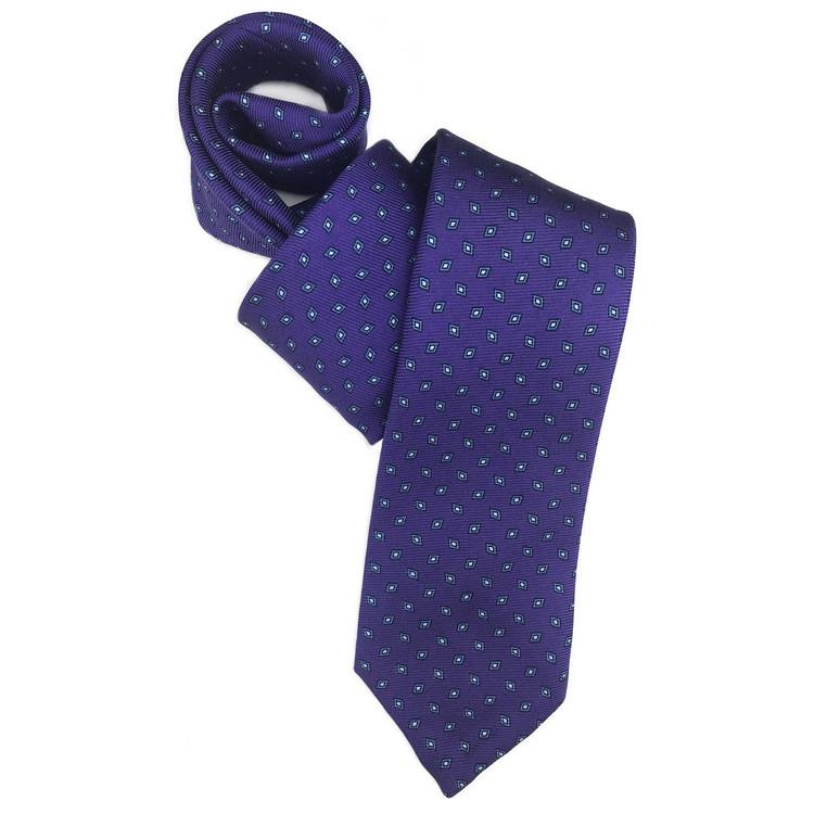 Fall 2017 Purple and Blue Neat '50oz. Print' Seven Fold Woven Silk Tie by Robert Talbott