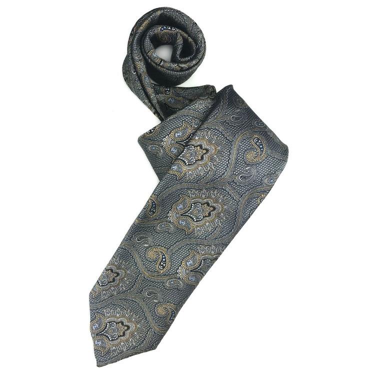 Fall 2017 Grey and Gold Paisley 'Sudbury' Seven Fold Woven Silk Tie by Robert Talbott