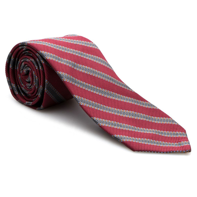 Fall 2017 Red and Grey Stripe 'Sudbury' Seven Fold Woven Silk Tie by Robert Talbott
