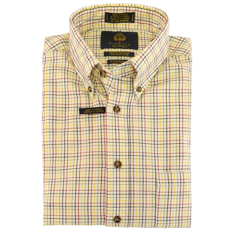 Cream, Red, Olive, Sage, and Lemon Plaid Button-Down Shirt by Viyella