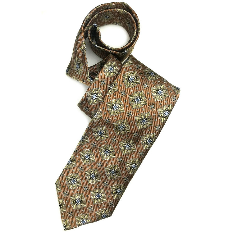Fall 2017 Bronze and Gold Medallion 'Sudbury' Seven Fold Woven Silk Tie by Robert Talbott