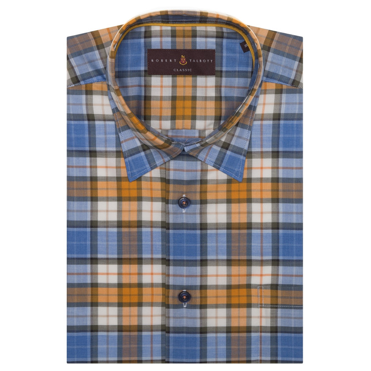 Fall 2017 Blue and Orange Plaid 'Anderson II' Sport Shirt by Robert Talbott