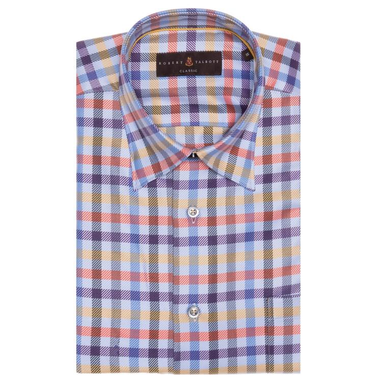 Fall 2017 Blue, Purple, and Orange Plaid 'Anderson II' Sport Shirt by Robert Talbott