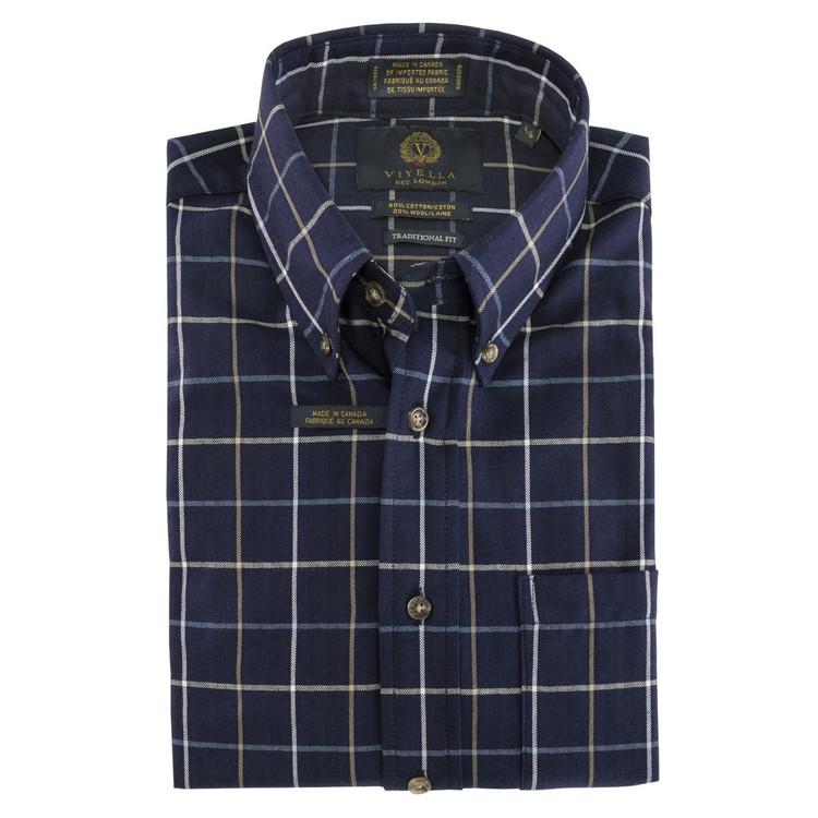 Navy and Tan Plaid Button-Down Shirt by Viyella