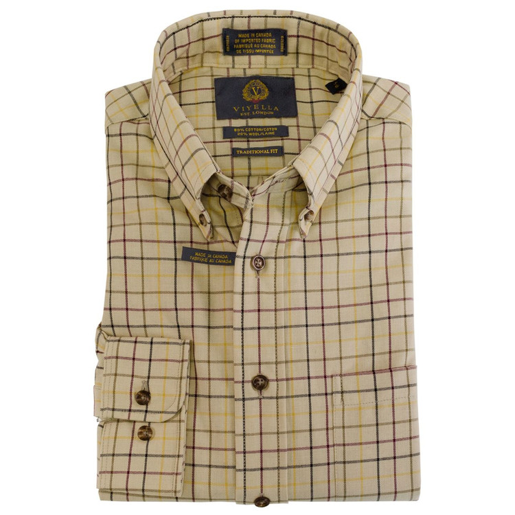 Gold, Burgundy, and Olive Plaid Button-Down Shirt by Viyella