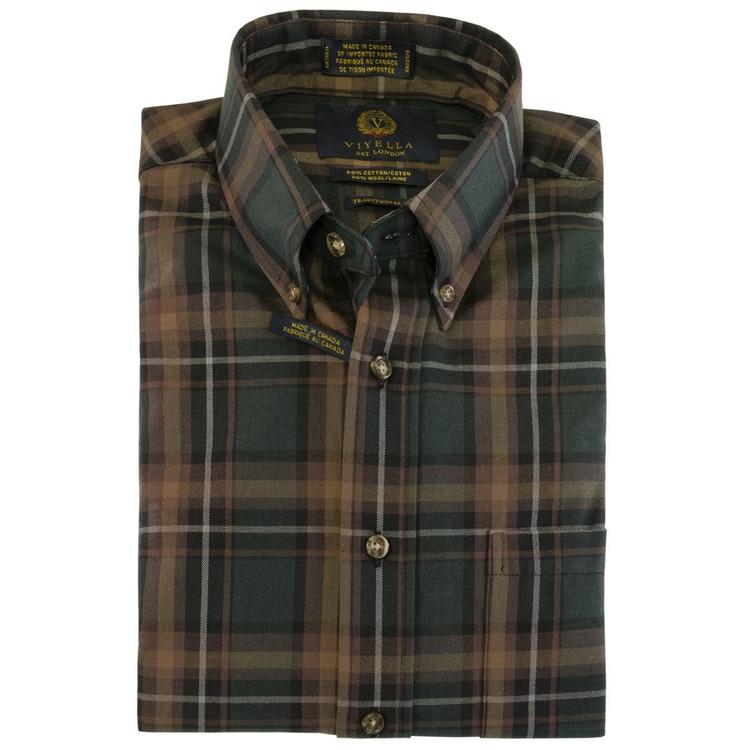 Bottle Green and Tan Plaid Button-Down Shirt by Viyella