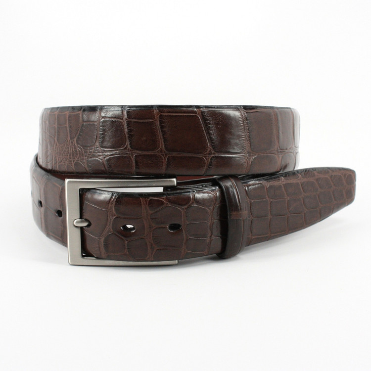American Alligator Belt in Brown Matte by Torino Leather Co.